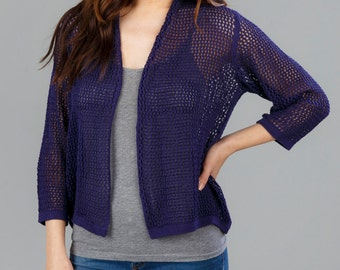 Bamboo Knit Cover-Up: Navy, Chagall, & Cloud