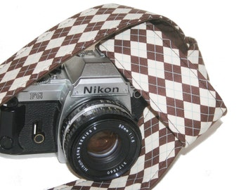 Camera Strap - Brown Ivory Argyle - SLR, DSLR by Howard Avenue with Genuine Leather Tab Ends