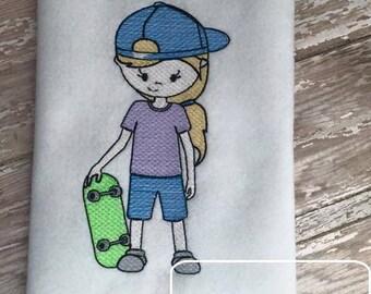 Skateboard Girl Sketch Embroidery Design - skateboard Sketch Embroidery Design - skater Sketch Embroidery Design