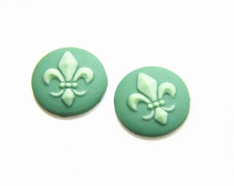 12 pcs of resin  cabochon 15mm round -teal