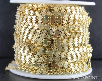 14K Gold Filled 4mm Sequin Disc Chain- Gold Filled Round Disc Circle Chain, Chain by foot, Wholesale, BULK Low Price (GF-018)