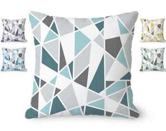 Teal and gray pillow cover, modern throw pillow cover, geometric pillow, abstract pillow, decorative pillow, 14, 16, 18 and 20 inch