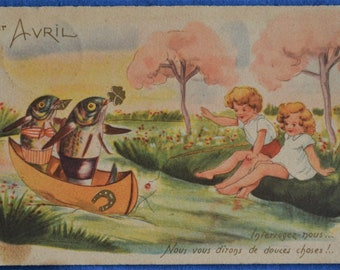 Comic 1st Avril April French Fish in Boat Children River Bank Antique Postcard
