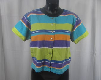 Vintage 90s Multi Color Striped Cropped Top Short Sleeve Shirt