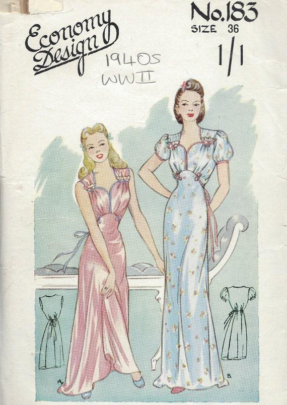 1940er Jahre WW2 Vintage Schnittmuster B36 Nachthemd