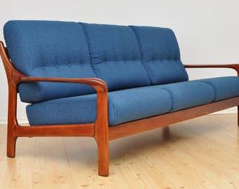 Vintage German 3 Seat Sofa Design Mid Century Fully Restored 1960