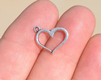 BULK 50  Silver Open Heart Charms SC3760
