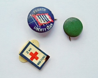 World War One U.S.A. War Bond Pins, WWI War Bond Pin Bundle, Militaria - FREE USA Shipping