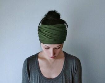 DESERT GREEN Head Scarf, Avocado Green Head Wrap, Extra Wide Headband, Boho Headband, Green Headband, Turban Headbands for Women Teen Girls