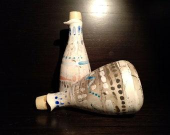 Set of oil and vinegar in ceramics. Handmade. Unique piece. Small ceramic bottles.