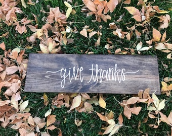Give thanks wood sign |  Hand painted wooden plank sign |  Thanksgiving wall hanging | Fall calligraphy sign