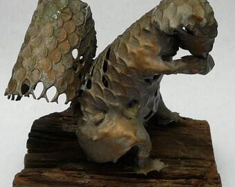 Vintage Brutalist Sculpture Squirrel Bronze Wire Mesh