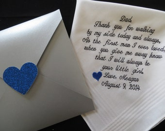 Embroidered Personalized Wedding Handkerchief for the Father of the Bride. You may choose two colors. Free Gift Box Included.