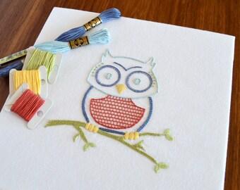 Owlish hand embroidery pattern, modern embroidery, bird embroidery, owl, birds, embroidery patterns, embroidery PDF, PDF pattern