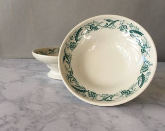 Vintage Mayer China Footed Bowls, Mayer Marilyn | green transferware, restaurant ware bowls, footed compote, restaurant comport, floral bowl