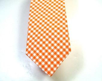 Orange Gingham Mens Necktie