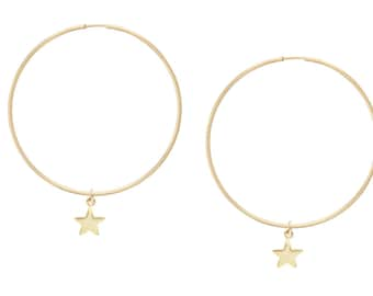 Gold Star Hoop Earrings | Hoop Earrings | Gold Hoop Earrings | 14kt Gold Filled