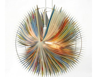 Orbit Book Lamp - unique handmade lamp made from a used book, recycle, upcycle, bookart, light, origami, lantern