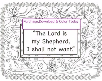 the lord is my shepherd scripture coloring page - Psalm 23 Coloring Page