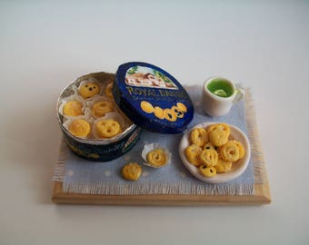 Dollhouse Miniature Clay Food, Danish Butter Cookies, Handmade Miniature Food