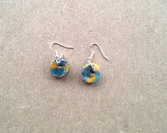 Pair of earrings - round - ceramic raku yellow turquoise silver