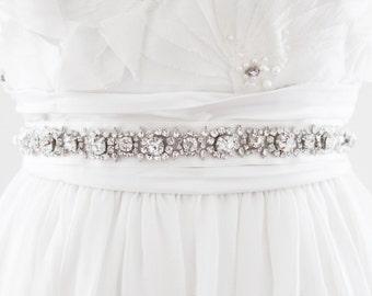 SELMA - Rhinestone Beaded Bridal Sash, Wedding Belt