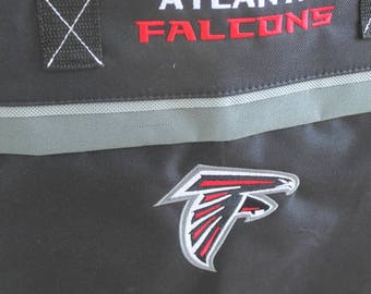 Sports Team Tote Bags Embroidered Two Color Convention Tote Shop Beach Bag Tote with Zipper Closure in Atlanta Falcons Red Black White Color