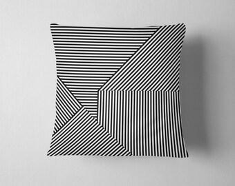 Black and white geometric striped pillow