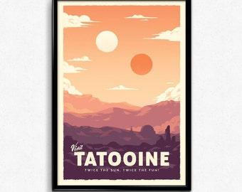 Tatooine - Star Wars Retro Travel Poster Print