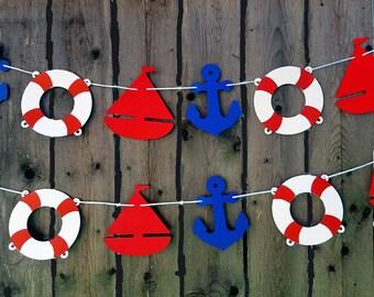 Nautical Garland, Nautical Banner, Nautical Baby Shower, Nautical Birthday, Anchor, Sailboat, Life Saver, Photo Prop, Nautical Decorations
