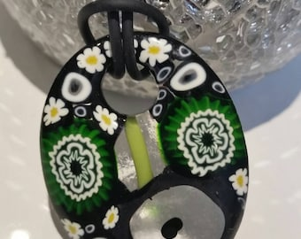 Millefiore oval black and green pendant
