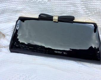Vintage shiny black clutch purse