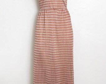 Vintage Maxi Dress / Sleeveless Metallic Thread Houndstooth Print / Vintage 60s - 70s Junior Touch Hostess Dress