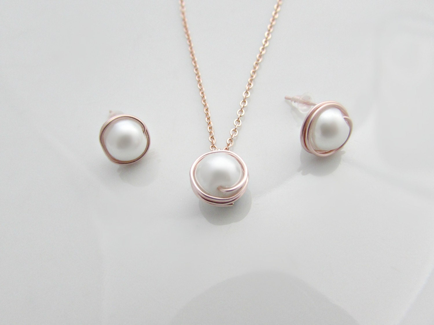 Pearl Necklace and Earring Set Rose Gold Pearl Necklace Bridesmaid