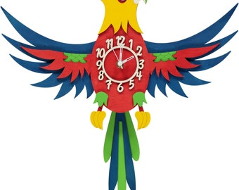 Parrot Wooden Pendulum Clock