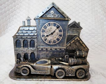 """Steampunk table clock """"Back To The Future"""""""
