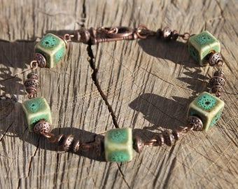 Green Bracelet Beaded Bracelet Ceramic Bracelet Earthy Copper Bracelet Boho Jewelry Boho Bracelet Gift For her Gift for Women