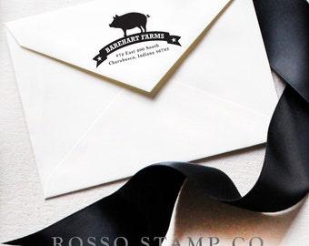 Address Stamp - Custom Stamp - Pig stamp - Return Address Stamp - Personalized Address Stamp - Farm Stamp - Pig Stamp