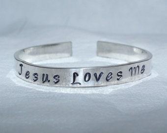 infant toddler jesus loves me bracelet - jesus loves me - jesus bracelet - faith bracelet  - jesus loves me jewelry - handstamped bracelet