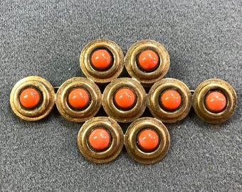 Large Art Deco Geometric Brooch with Coral Colored Cabochon Glass Stones. Free shipping
