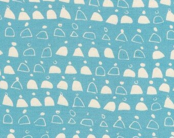 GOTS Certified Fabric - Organic Cotton Canvas Fabric 2 yards - Cloud 9 - Swell Blue  Rainwalk collection - GOTS certified - SALE -blue white