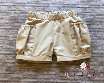 Girls bubble shorts, toddler bubble pocket shorts, toddler shorties