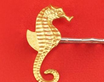Brass Seahorse Hairpin