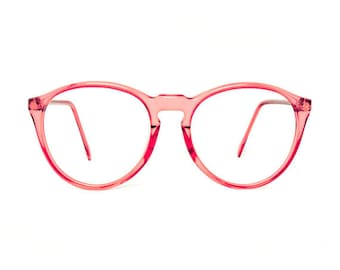 vintage pink transparent round glasses frames - mauve red eyeglasses - original 80s deadstock eyewear - oversized glasses frames 1980s