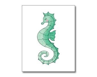 Printable art, Beach art, Fish art, Seahorse art print, Nursery art print, Seahorse print, baby room decor, custom digital, DIY