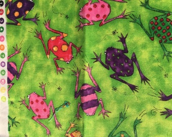 Vintage Cotton Fabric patch frogs lime green multicolour frog  jungle animal -bright pattern retro material