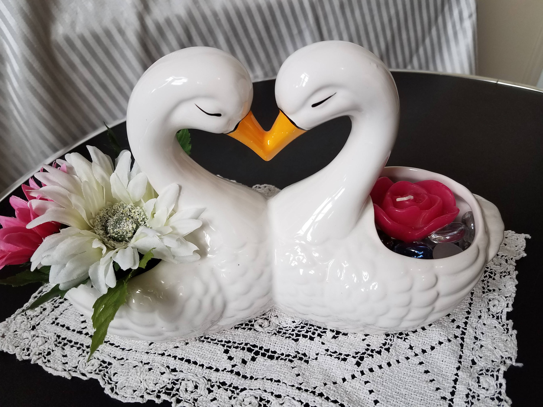 Vintage Kissing Swans Planter or Candle Holder Home Decor