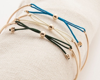 6 Bridesmaid Custom Bangles - 14K Gold Bow Tie Bracelet