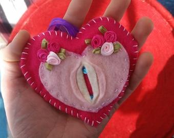 Heart Shaped Vagina Ornament -Rosalita Hermosa-i felt vagina