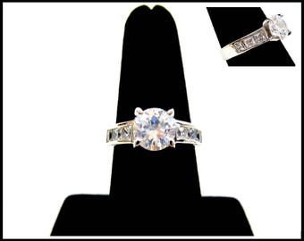 CZ Solitaire Ring, Side Channel Set Princess Cut CZs, Size 7 Half, Cubic Zirconia, Engagement Ring, Wedding Ring Anniversary Gift for Her